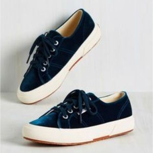 BRAND NEW Superga Velvet navy blue sneakers